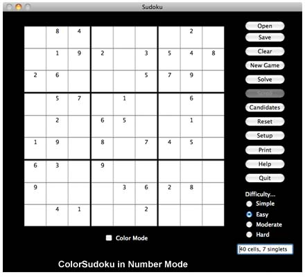 ColorSudoku in Number Mode